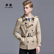 Mens trench coats man spring autumn double-breasted coat men clothes slim fit overcoat long sleeve 2019 new designer khaki