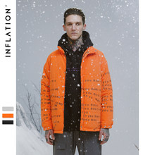 INFLATION Letter Printing Thick Coat 2018 Men's Warm Winter Jacket Casual Outerwear Men Orange Parka Male Fashion Coat NEW 8730W(China)