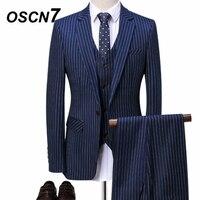 OSCN7 в полоску Нарядные Костюмы для свадьбы для Для мужчин 3 предмета Свадебные Индивидуальные костюмы Slim Fit Досуг Настроить сделал Для мужчи