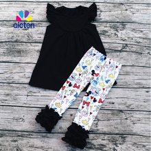2017 Fashion kids fall outfits wholesale fall boutique girl clothing set children mickey outfits