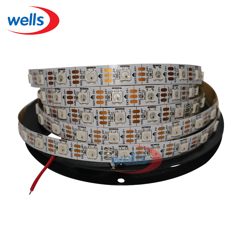 4M 60LED/M WS2812B 5050 SMD RGB WS2811 IC Built-in Individually Addressable Color LED Strip Light DC5V