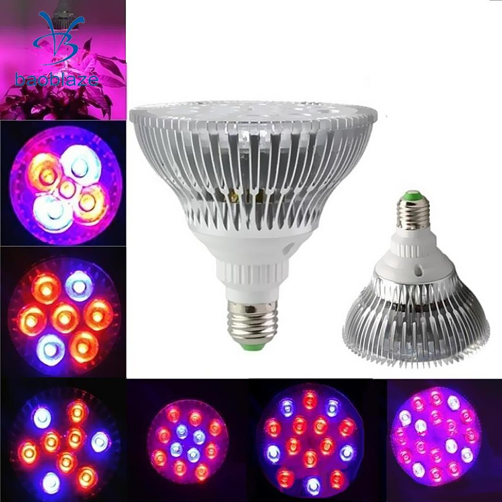 Baoblaze E27 LED Grow Light Plant Growth Light for Indoor Plants Veg Flower 5W/7W/9W/12W/15W/18W