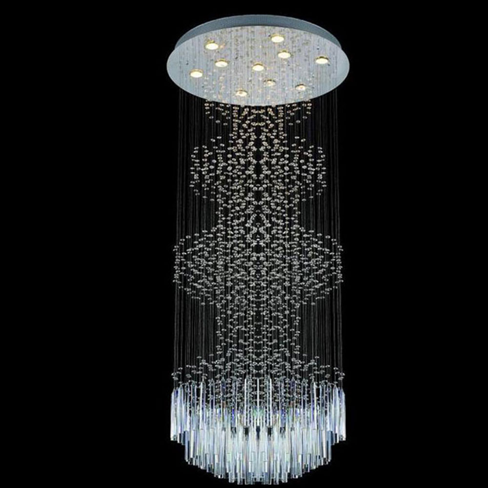 2017 New 60*150cm Round Modern Crystal drop rain Light LED Chandelier Large Hotel Villa Project Lights contemporary chandelier дорожка плетеная 900х1200мм в полоску в ассортименте солома