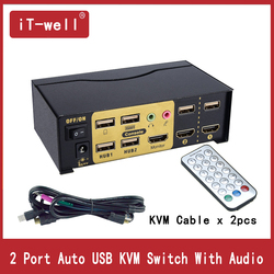 HDMI Switch KVM Switch 2 Port HDMI USB2.0 With Audio cables Splitter Mouse keyboard 4Kx2K HDMI Switcher