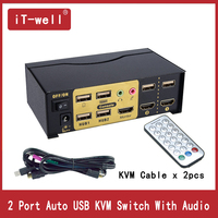 USB HDMI KVM Switch 2 Port HDMI USB2.0 With Audio cables Splitter Mouse keyboard 4Kx2K HDMI Switcher