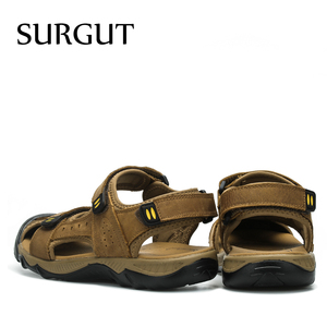 Image 2 - SURGUT New 2021 Hot Fashion Summer Casual Solid Men Sandals Breathable High Quality Genuine Leather Beach Shoes Big Size 38~48
