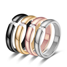1PC Fashion Simple Stainless Steel Solid Crystal CZ Wedding Propose Band Ring Jewelry Accessories Gifts for Women Men Size 5-13(China)