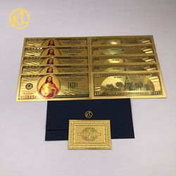 Кредиток золота 24k позолоченные США 100 долларов мир фальшивых денег коллекции валюта USD фольга счета 10 шт./лот