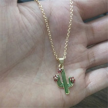 Gold Color Metal Red Crystal Flower Chokers Cute Enamel Cactus Pendant Necklace For Women Girl Fashion Collier Jewelry Wholesale