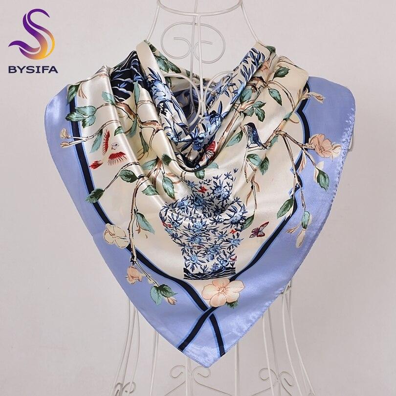 [BYSIFA] Chinese Style Women Silk Scarf Ne Roses Vase Pattern Blue Satin Large Square Scarves Wraps Elegant Muslim Headscarves