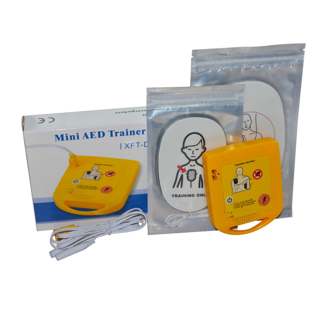 Mini AED Trainer Automated Cardiopulmonary Defibrillator Resuscitation Training First Aid Device In Spanish + 1 CPR Face Shield