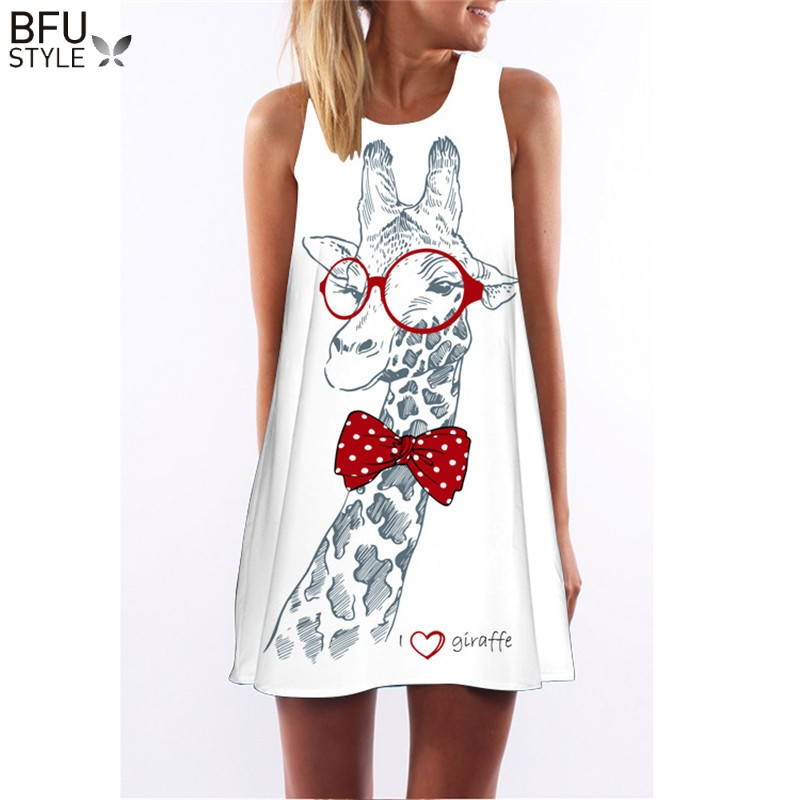 Summer Dress Floral Print Boho Dresses For Women Casual Beach Sundress Sleeveless Flamingo Chiffon Dress 1