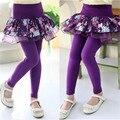 Fake 2 unids Baby Girls Lace Floral Tutu falda Algodón Bottoms Pantalones Flacos Legging Pantalones Elásticos Niño Ropas de Los Cabritos