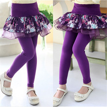 Fake 2pcs Baby Girls Lace Floral Tutu Skirts Cotton Bottoms Legging Stretchy Pants Toddler Kids Clothings Skinny Trousers