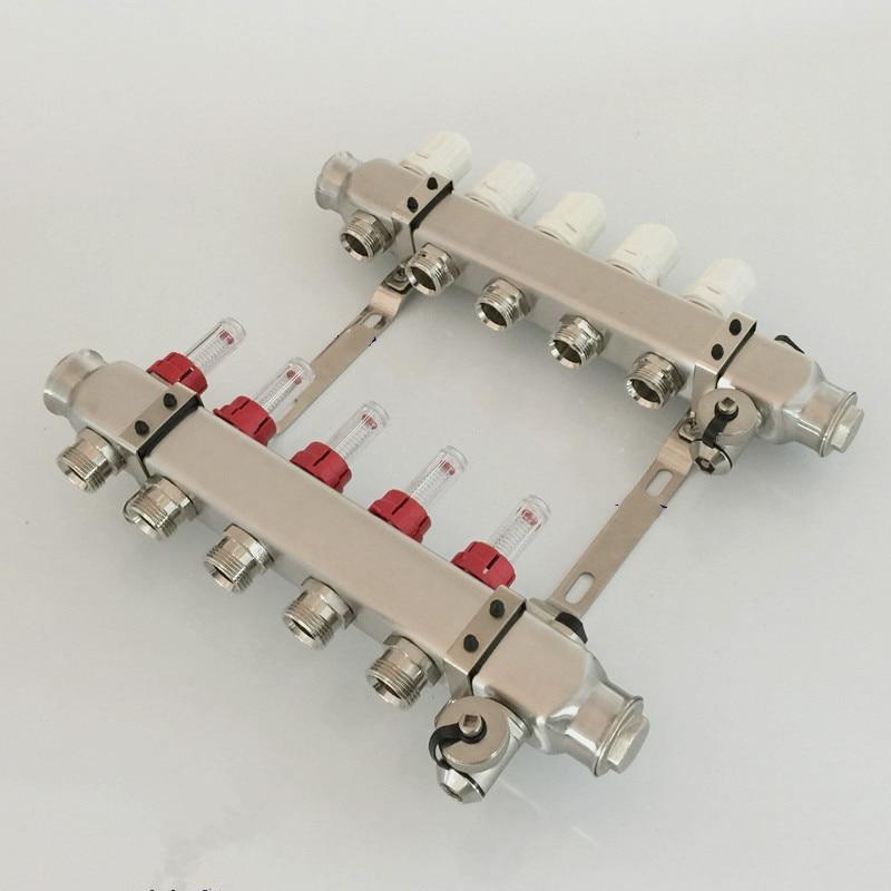 Underfloor heating manifolds 5 ports  stainless steel