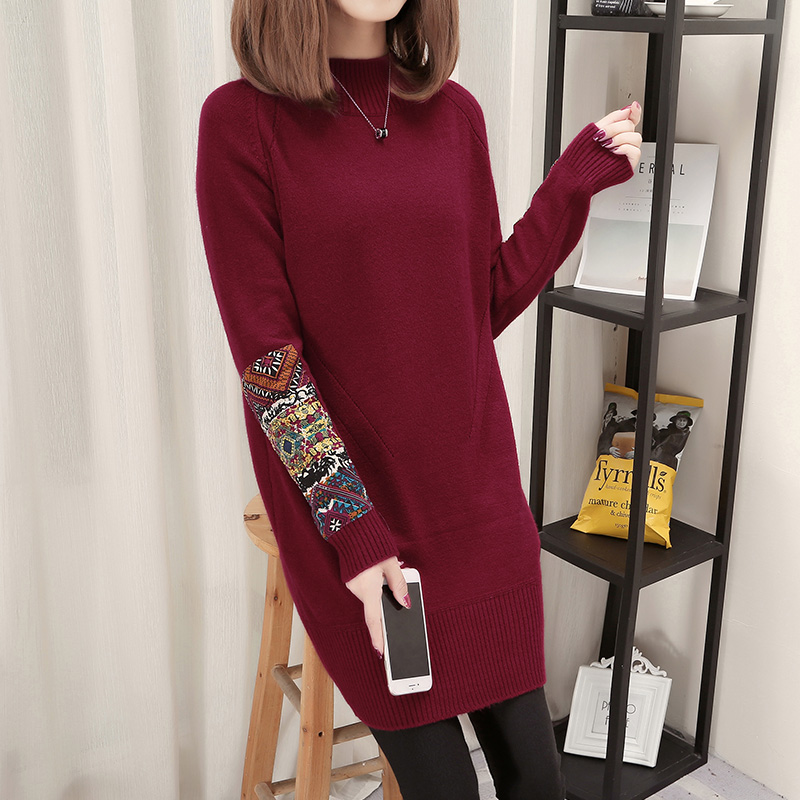 2018 Winter Sweater Dress Women Turtleneck Knitted Appliques Patchwork Long Sleeve Loose Pullovers Thick Warm Dresses Knitwear