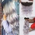 7А Перуанский Weave Волос Девственницы 3 Связки С Уха до Уха 13x4 Кружева Фронтальная Закрытие Объемная Волна # 1B/Silver Grey С Волосами Младенца
