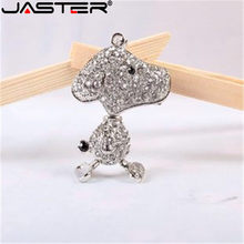 JASTER metal bonito colar de cristal animal keychain do filhote de cachorro cão unidade flash usb jewerly pendrive 4 GB 8G 16 GB 32 GB 64 GB memory stick(China)