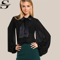 Sheinside Bishop Sleeve Tie Neck Bow Blouse Black Band Collar Puff Sleeve Sexy Blouse 2017 Fall