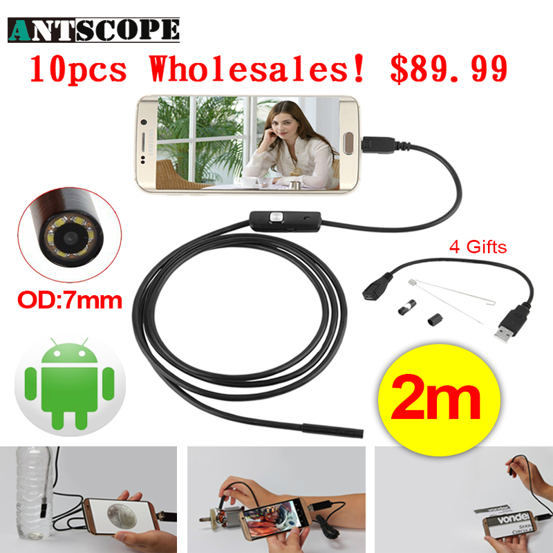 Antscope Wholesale 7mm Lens Mini USB Android Endoscope Camera Waterproof Snake Tube 2M Inspection USB Borescope Endoskop Camera 8mm 2in1 micro usb endoscope camera 2m lens android phone endoscope mini camera inspection borescope tube snake mini camera
