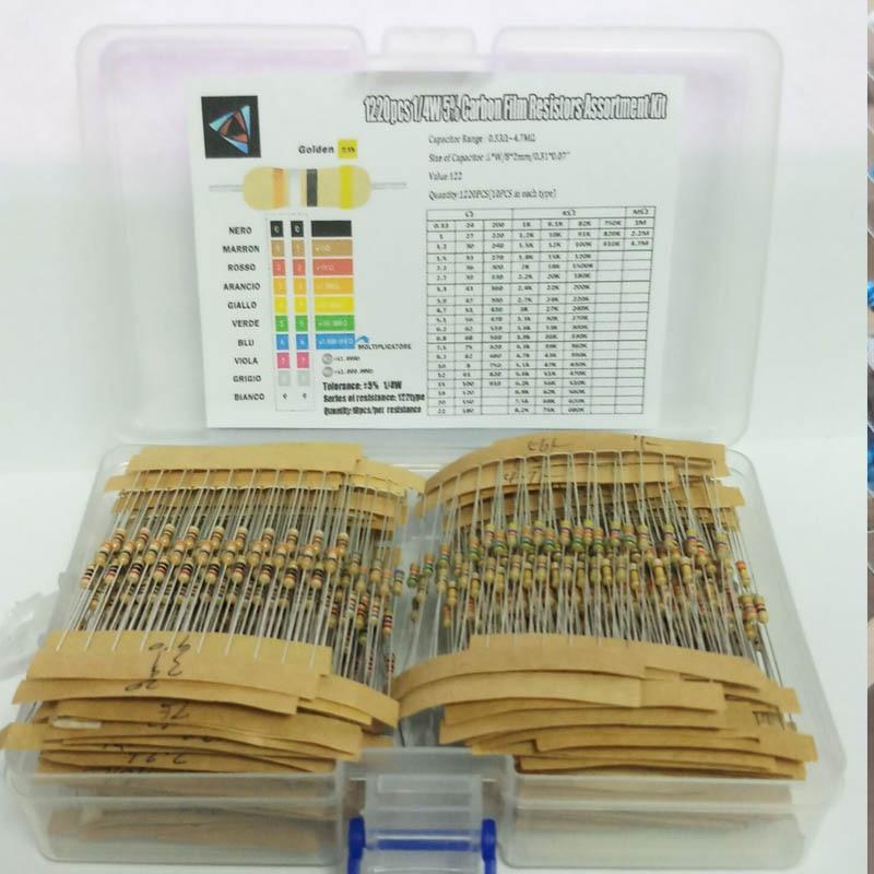 Комплект резисторов 1220 шт., 1/4 Вт 5% 0,33 Ом-4,7 м ом 122 значений X 10 шт. резисторов, упаковка резисторов, карбоновая пленка, фотобокс