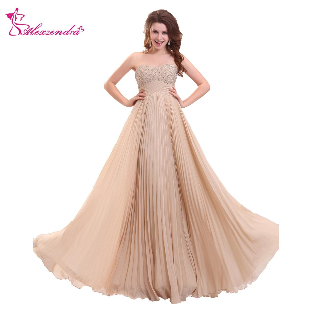 Alexzendra Champagne A Line Long   Prom     Dresses   Sweetheart Beaded Party   Dress   Evening   Dresses   Plus Size