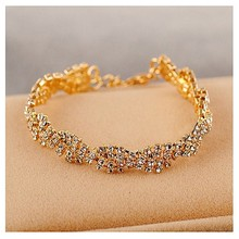 Hot Sale Trendy Shiny White Crystal Beaded Wavy Shaped Bangle Charm Luxury Silver Color Bracelets for Women Party Jewelry Bijoux(China)