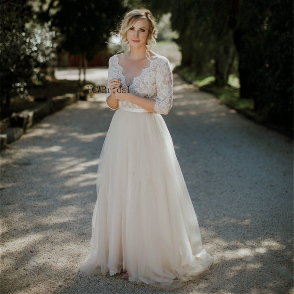 Simple Champagne Tulle Lace Wedding Dress V Neck Half