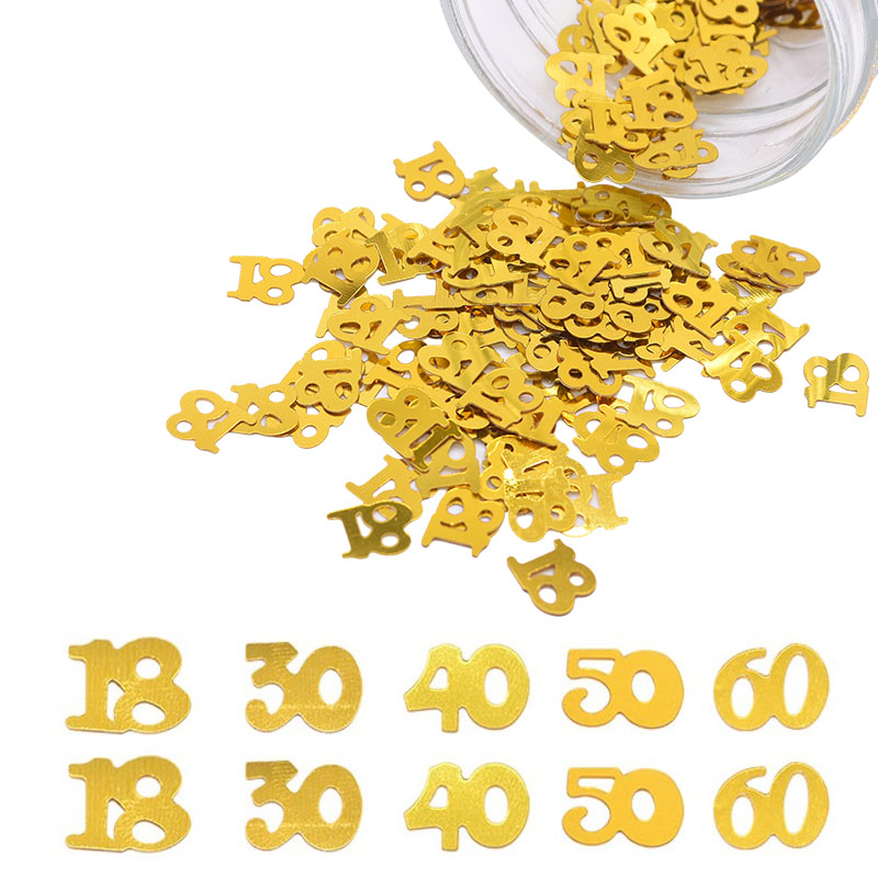 15g/bag Gold Table Sequins Number 18 30 40 50 <font><b>60</b></font> Confetti Sprinkles <font><b>Happy</b></font> <font><b>Birthday</b></font> Party Decoration Wedding Anniversary Supplies image