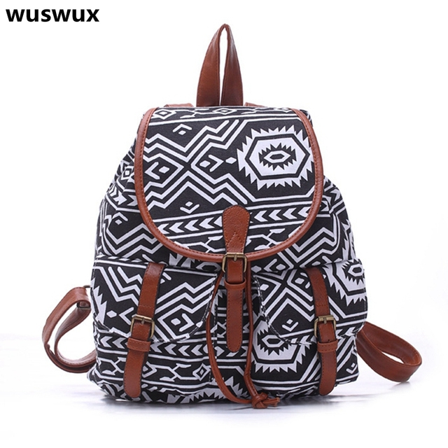 ac0fe1179b 2017 new fashion canvas geometric printing backpack women bag casual travel  backpacks girls school bags good
