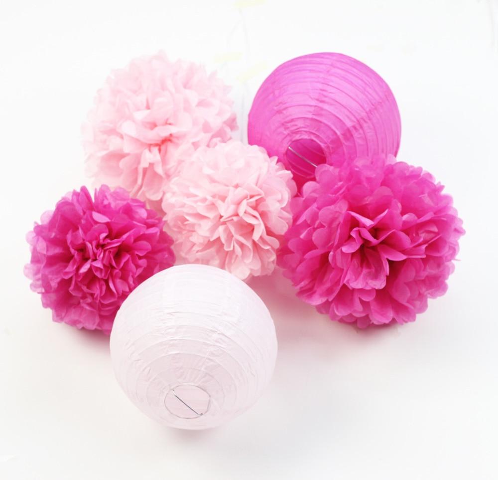 (Pink,Fuchsia)6pcs Honeycomb Paper Decoration Set (Paper Lantern,Pom Pom) for Wedding Bridal Shower Birthday Valentines Decor (2)