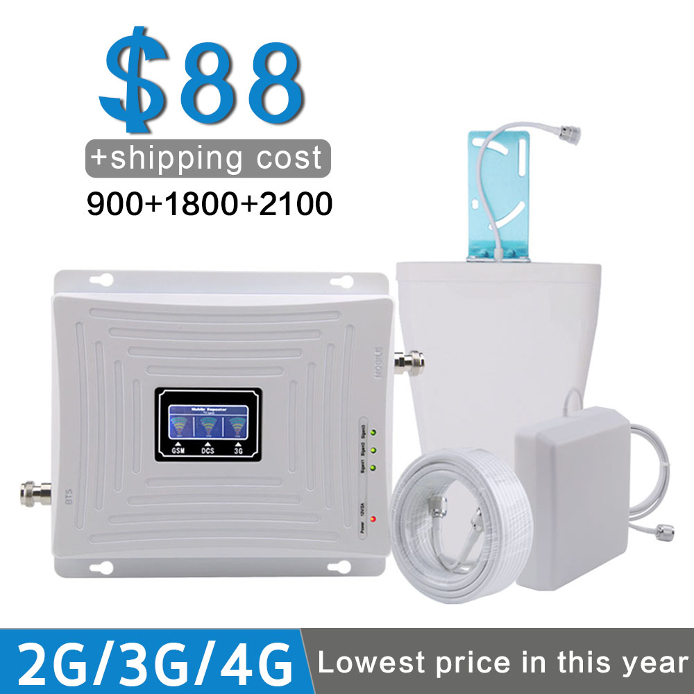 900+1800+2100 Mobile Signal Repeater GSM 900 DCS 1800 WCDMA 2100 Signal Booster 70dB Gain 2G 3G 4G Amplifier B1 B3 LCD Display900+1800+2100 Mobile Signal Repeater GSM 900 DCS 1800 WCDMA 2100 Signal Booster 70dB Gain 2G 3G 4G Amplifier B1 B3 LCD Display