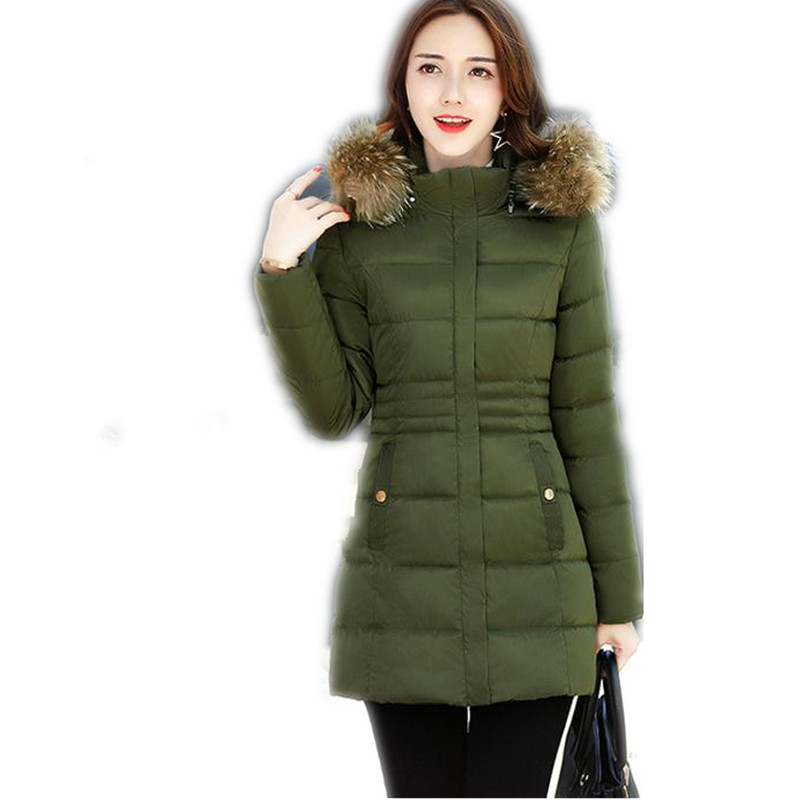 2017 New Winter Women Down Cotton Jacket Parka Female Hooded Fur Collar Medium-Long Size M-3XL Cotton Thicken Solid Parka CQ395 michael kors new women s size medium m solid brown raglan peasant blouse $49
