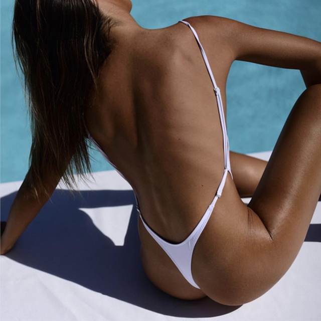 47bcce0edc783 Backless Bather Female Solid High Leg One Piece Swimsuit Thong Monokini  White Black Red Sexy Women Swimwear G-String Swim Suit