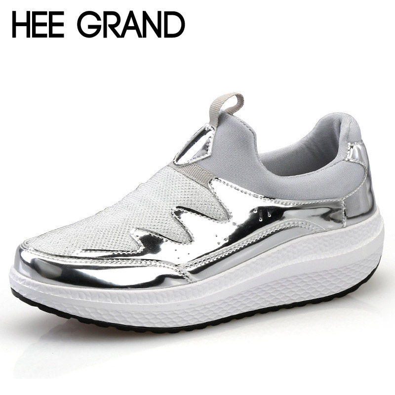 HEE GRAND 2017 Comfort Creepers Bling Loafers Silver Platform Shoes Woman Slip On Casual Women Flats Shoes 3 Colors XWD5547 hee grand 2017 new gladiator sandals gold silver shoes woman summer flip flops slip on creepers casual women shoes xwz3847