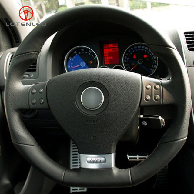 Lqtenleo Black Genuine Leather Diy Car Steering Wheel Cover For