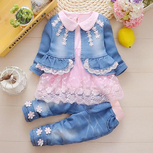 2800dfd6c224 New Fashion Spring Autumn Infant Baby Girls Denim Clothing Set 3pcs ...