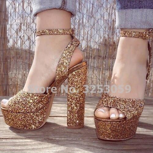 5f815ad7758a ALMUDENA Bling Bling Golden Heels Sequined Gladiator Platform Sandals  Glittering Open Toe Chunky Heels Paillette Wedding