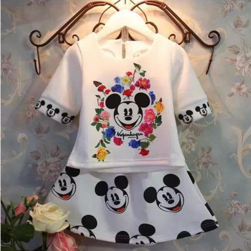 2016 new mickey girl clothing sets children t shirt + skirt baby girls clothes set, cotton cartoon minnie casual suits