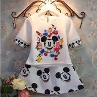 2015 New Summer Children T Shirt Skirt 2pcs Kids Clothing Sets Cotton Cartoon Minnie Casual Suits