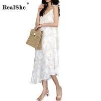RealShe 2018 Summer Sexy Feathers Party Dresses New Women Sleeveless V Neck Elegant Casual Beach Long