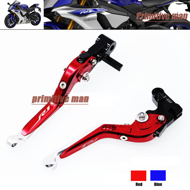 ФОТО For YAMAHA YZF R1 YZFR1 YZF-R1 YZF R1M YZF R1S 2015-2016  Folding Extendable Brake Clutch Levers LOGO R1 Red