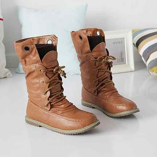 Artı boyutu kış kar botları flats lace up yuvarlak ayak yumuşak deri kadın yarım çizmeler siyah kahverengi sarı kadın ayakkabısı kadın