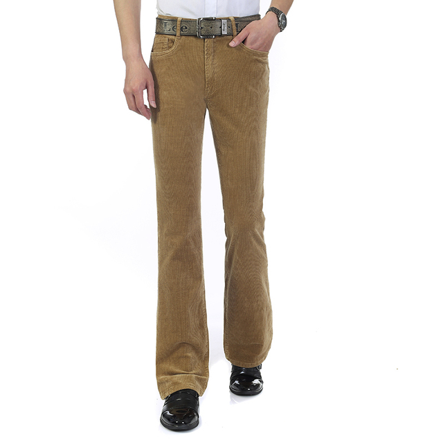 640ed719a8a New arrival Men s Autumn Corduroy Boot Cut Pants Male Mid Waist Business  casual Candy Color flares Corduroy Trousers 082503
