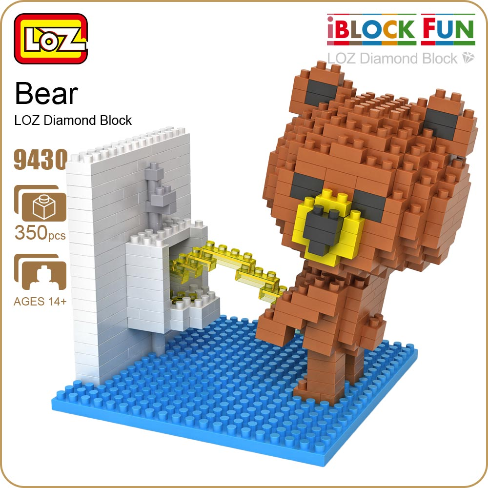 LOZ Figures Brown Bear WC Pee Urinate Box Diamond Block Toys Builds Cartoon Fun Small Bricks Cube DIY Animal Anime Figurine 9430 loz diamond blocks figuras classic anime figures toys captain football player blocks i block fun toys ideas nano bricks 9548