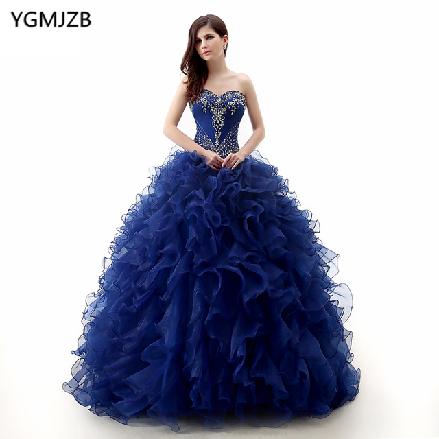 ce4d6c03f Navy Blue Quinceanera Dresses 2018 Ball Gown Sweetheart Off Shoulder ...