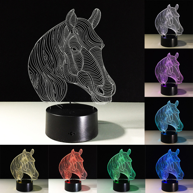 Home Decoration USB Novelty Gifts 7 Colors Changing Led Night Lights 3D LED Desk Table Lamp