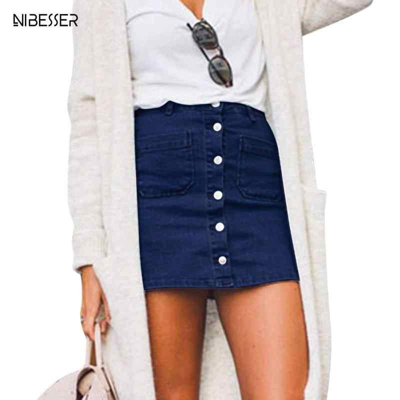 2d173bb1188a9 NIBESSER High Waist Jeans Skirts women Casual Sexy Pencil Mini Skirt Denim Skirts  Women Summer Fashion