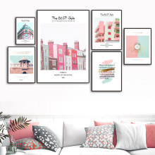 Colorful Dream Building Alarm Clock Wall Art Canvas Painting Nordic Posters And Prints Pop Pictures For Living Room
