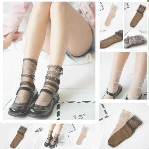 Fashion Soft Sports Summer Fishnet Mesh Silver Striped Ankle Socks